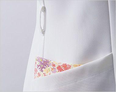 LW411 ローラ アシュレイ 半袖ナースワンピース(女性用) ウエストループと配色が印象的なポケット