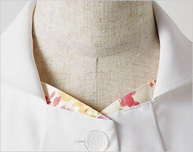 LW801 ローラ アシュレイ 半袖ナースジャケット(女性用) さりげない配色プリントとすっきりした襟