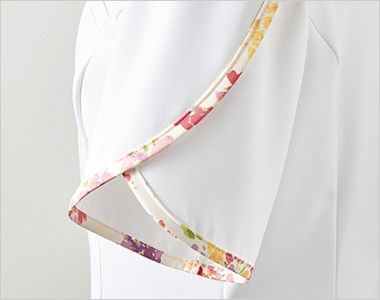 LW802 ローラ アシュレイ 半袖ナースジャケット(女性用) 花びらのようなデザイン