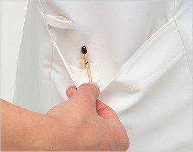 CF4802 ナガイレーベン(nagaileben) クレールローベ チュニック(女性用) ポケットは二重構造で、内側はペン差しポケット