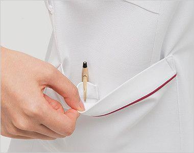 HOS4907 ナガイレーベン(nagaileben) ホスパースタット ワンピース(女性用) 二重構造で、内側はペン差しポケット
