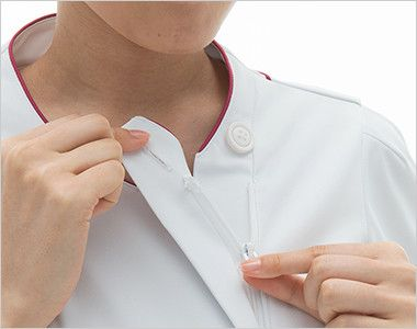 LX4082 ナガイレーベン(nagaileben) エルエックス チュニック(女性用) 襟の内側はボタンとファスナー