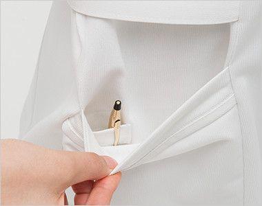 MI4637 ナガイレーベン(nagaileben) ミレリア ワンピース(女性用) ポケットは二重構造で、内側はペン差しポケット