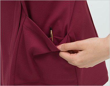 ML1142 ナガイレーベン(nagaileben) エムエル ハイブリッドメディウェア チュニック(女性用) ポケットは二重で、内側はペン差しポケット