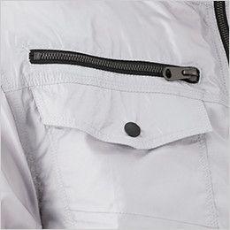 05811 シンメン S-AIR フードインハーフジャケット(男性用) フラップポケットとファスナーポケットで収納力抜群のツインポケット