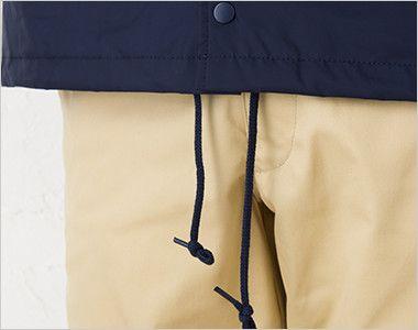 00077-CJ コーチジャケット(男女兼用) 紐が通されていて絞れる裾