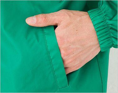 [在庫限り/返品交換不可]00098-FW フードインウィンドブレーカー(男女兼用) ポケット付き