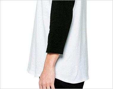 00107-CRB 5.6オンス ヘビーウェイトベースボールTシャツ(男女兼用) 3/4スリーブ 脇腹にもプリントが可能な丸胴仕様