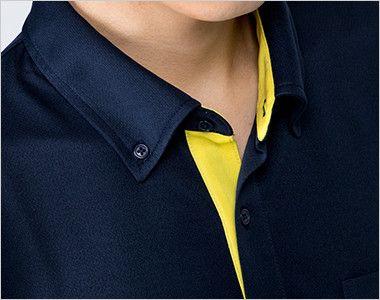 00315-AYB 4.4オンス ドライレイヤードボタンダウンポロシャツ(男女兼用) ちらりとのぞく配色がオシャレ