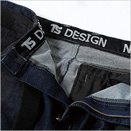 TS DESIGN 51141 綿100%ソフトチノクロス&ストレッチデニムカーゴパンツ(女性用) 帯裏デザイン