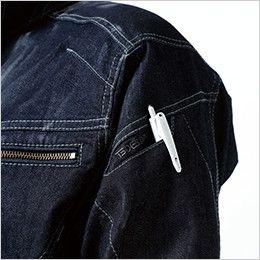 5116 TS DESIGN 綿100%ソフトチノクロス&ストレッチデニム長袖ジャケット(男女兼用) マルチスリーブポケット仕様