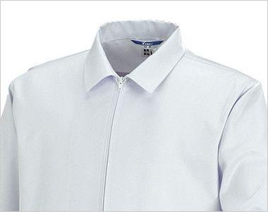 ジーベック 25210 長袖ファスナージャンパー(衿付)(男女兼用) フロントには、付属品が落ちにくく、軽くて、熱にも強いコイルファスナーを使用。衿付きタイプ。