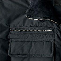 ジーベック 322 密度タフタボリューム中綿防寒防寒ブルゾン 金属ファスナー使用のポケット