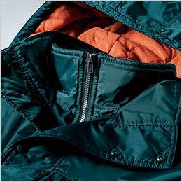 [在庫限り/返品交換不可]ジーベック 551 防水透湿防寒コート ダブルフロントの襟元ファスナーガード