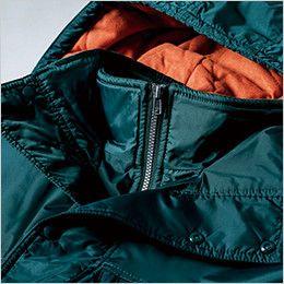 [在庫限り/返品交換不可]ジーベック 552 防水透湿防寒ブルゾン ダブルフロントの襟元ファスナーガード