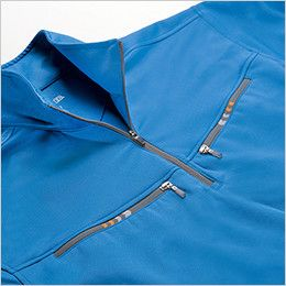 ジーベック 6160 カラーライダース半袖ジップアップシャツ(男女兼用) ファスナーポケット