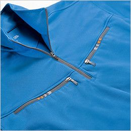 ジーベック 6165 カラーライダース長袖ジップアップ・ポロシャツ(男女兼用) ファスナーポケット