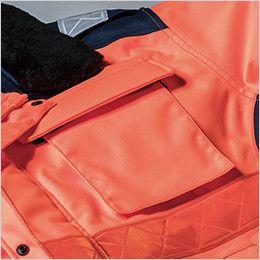 ジーベック 803 高視認性 安全防水防寒ロングコート 左胸ポケット