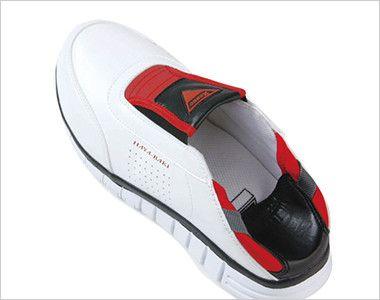 ジーベック 85128 耐滑セフティシューズ 樹脂先芯 状況に応じてかかとを踏んで履くことができ、脱ぎ履きの多い仕事に便利。