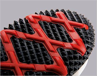 ジーベック 85129 セフティシューズ 棘(とげ)ソール  スチール先芯 特徴的な棘状の突起が地面を据えて滑りを防ぎます。