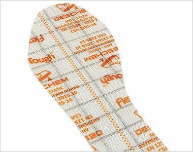 ジーベック 85208 踏み抜き防止セフティシューズ スチール先芯 足裏を危険から守る踏み抜き防止材は織物で形成されている為、スチール製のプレートと比べて屈曲性が良く、軽量化にもいなる高素材。
