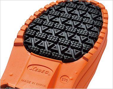 ジーベック 85712 EVA軽量防寒長靴 接地面には滑りにくいラバーを貼り合わせ、耐滑性・摩耗性を向上させています。
