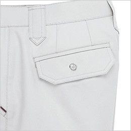 ジーベック 8882 ツータック スラックス ボタン仕様のフラップポケット