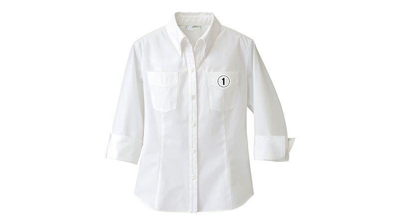 861204 アイトス 七分袖ボタンダウンシャツ(女性用) 商品詳細・こだわりPOINT