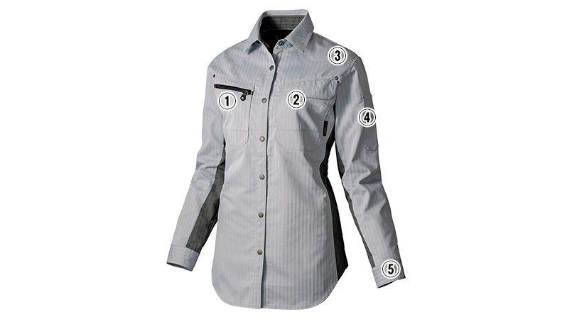 AZ30645 アイトス AZITOヘリンボーン レディースシャツ/長袖(女性用) 商品詳細・こだわりPOINT