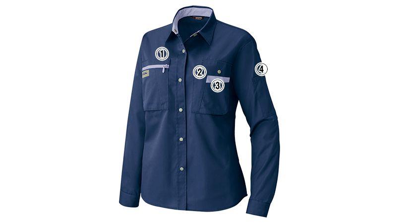 AZ5329 アイトス レディースムービンカット シャツ/長袖(薄地)(女性用) 商品詳細・こだわりPOINT