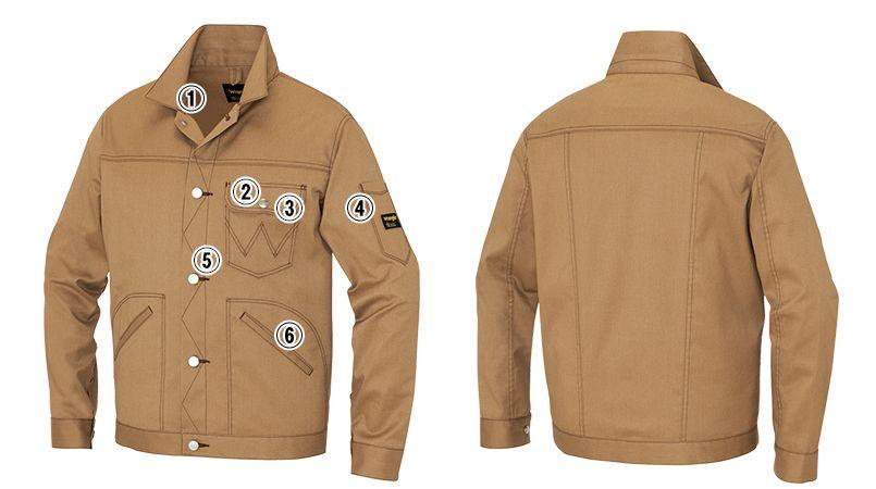 AZ64102 アイトス Wrangler(ラングラー) ボタンジャケット(男女兼用) 商品詳細・こだわりPOINT
