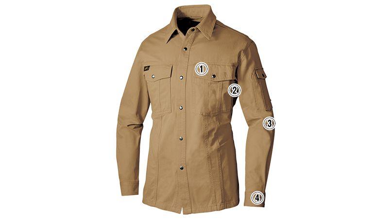 アイトス AZ6545 綿100%長袖ワークシャツ 秋冬・通年 商品詳細・こだわりPOINT