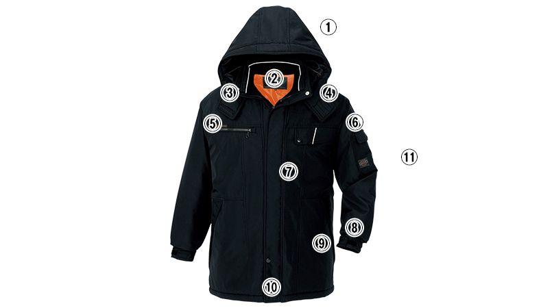 AZ8560 アイトス 防風防寒コート[フード付き・取り外し可能] 商品詳細・こだわりPOINT