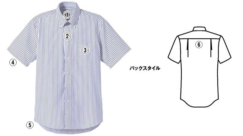 FB4509U FACEMIX ストライプシャツ/半袖(男女兼用)ボタンダウン 商品詳細・こだわりPOINT