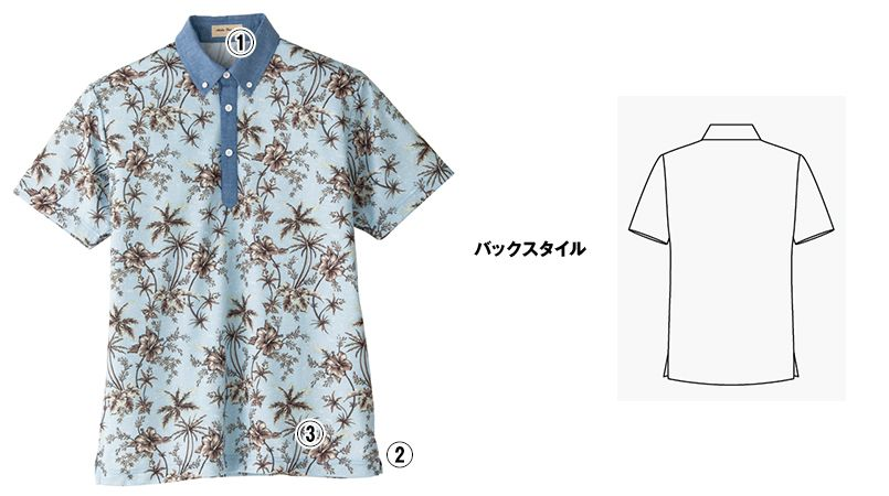 FB4524U FACEMIX アロハプリントポロシャツ(男女兼用)ボタンダウン 商品詳細・こだわりPOINT