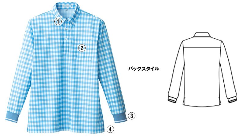 FB4536U ナチュラルスマイル 長袖 チェックプリントドライポロシャツ(男女兼用)ボタンダウン 商品詳細・こだわりPOINT