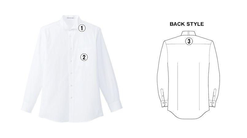 FB5032M FACEMIX ウイングカラーシャツ/長袖(男性用) 商品詳細・こだわりPOINT