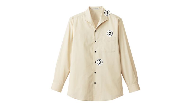 FB5033M FACEMIX イタリアンカラーシャツ/長袖(男性用) 商品詳細・こだわりPOINT