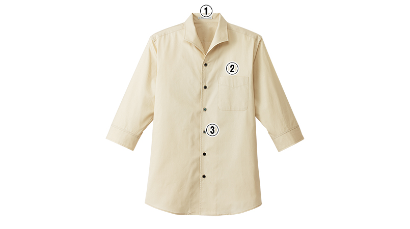 FB5034M FACEMIX イタリアンカラーシャツ/七分袖(男性用) 商品詳細・こだわりPOINT