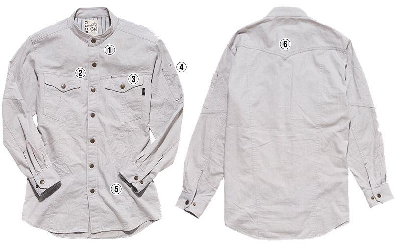 RS4301 ROCKY スタンドカラーシャツ(女性用) 商品詳細・こだわりPOINT