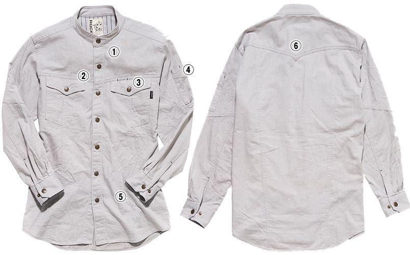 RS4601 ROCKY スタンドカラーシャツ(男性用) 商品詳細・こだわりPOINT