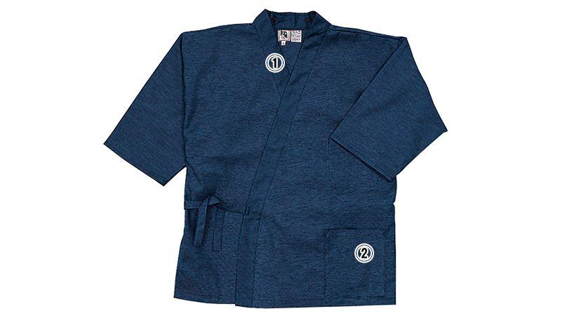 09540 BONUNI(ボストン商会) 作務衣上衣(男女兼用) 段落ち三者混 商品詳細・こだわりPOINT
