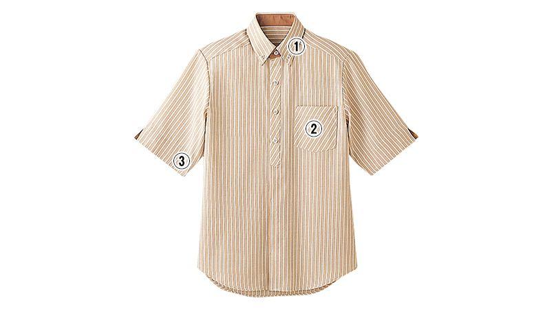 23303 BONUNI(ボストン商会) ボタンダウンシャツ/半袖(男女兼用) ストライプ 商品詳細・こだわりPOINT