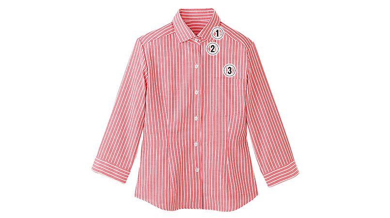24211 BONUNI(ボストン商会) シャツ/七分袖(女性用) ストライプ 商品詳細・こだわりPOINT