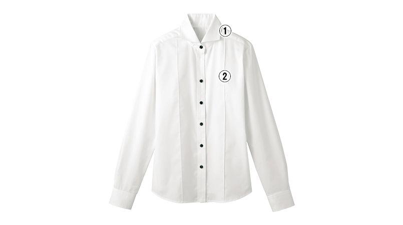 24215 BONUNI(ボストン商会) ホリゾンタルカラーシャツ/長袖(女性用) 商品詳細・こだわりPOINT