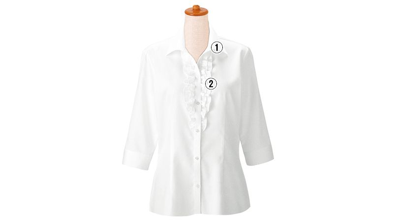 24226 BONUNI(ボストン商会) シャツ/七分袖(女性用) 2重フリル 商品詳細・こだわりPOINT