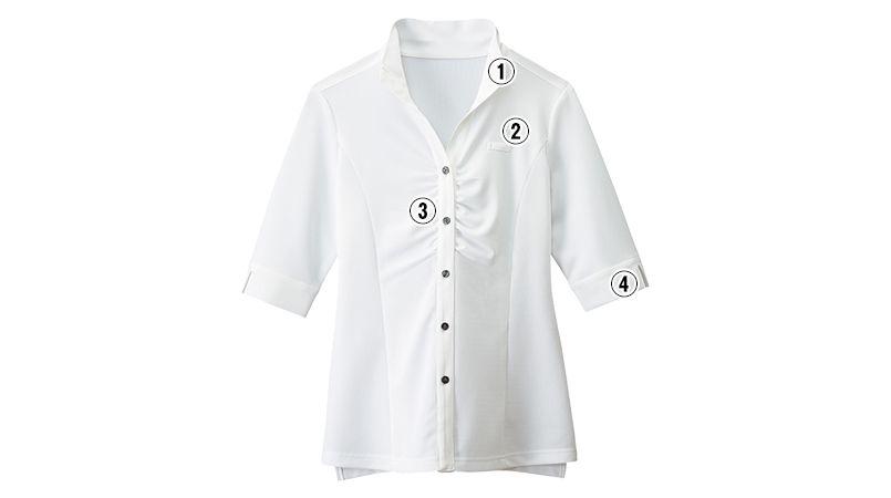 24229 BONUNI(ボストン商会) ウィングカラーニットシャツ/五分袖(女性用) 商品詳細・こだわりPOINT