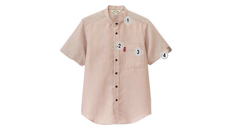 33302 BONUNI(ボストン商会) スタンドカラーシャツ/半袖(男女兼用)ストライプ 商品詳細・こだわりPOINT