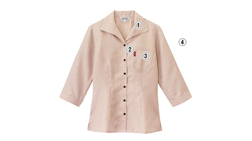 34201 BONUNI(ボストン商会) イタリアンカラーシャツ/七分袖(女性用)ストライプ 商品詳細・こだわりPOINT