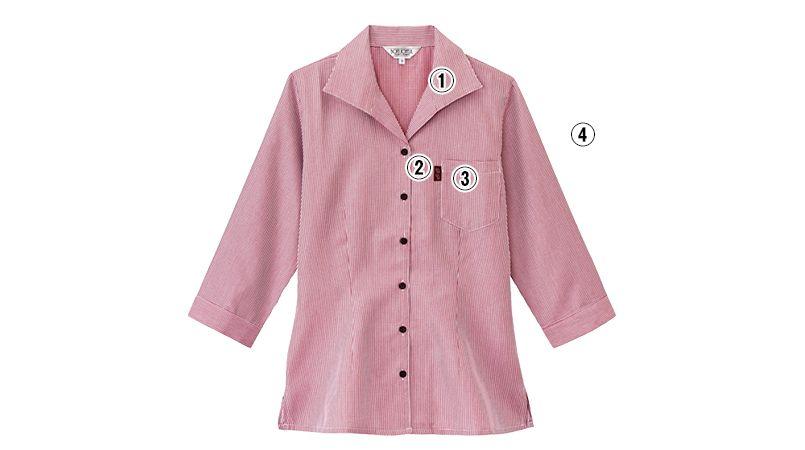 34202 BONUNI(ボストン商会) イタリアンカラーシャツ/七分袖(女性用) チェック 商品詳細・こだわりPOINT